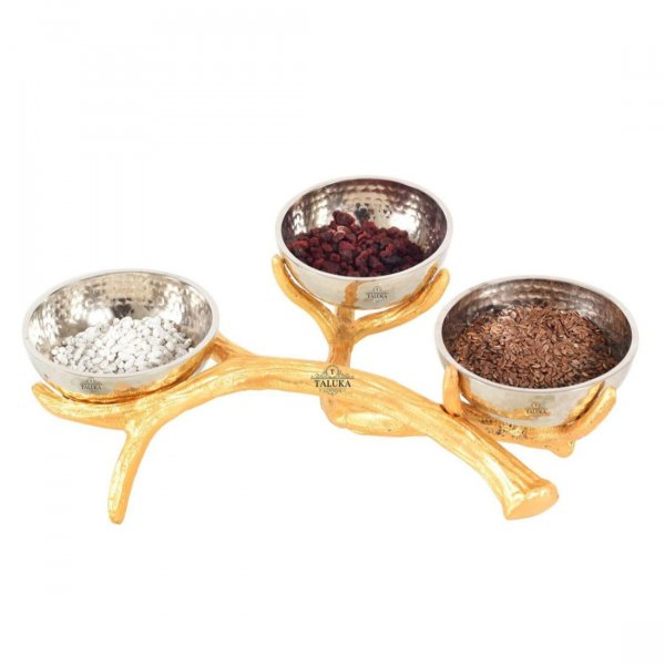 Stainless Steel Hammered Bowl Nickel Plating with Brass Stand 3 Pcs Set Serving ware Home Decor Handicraft Gifted Item Bowl