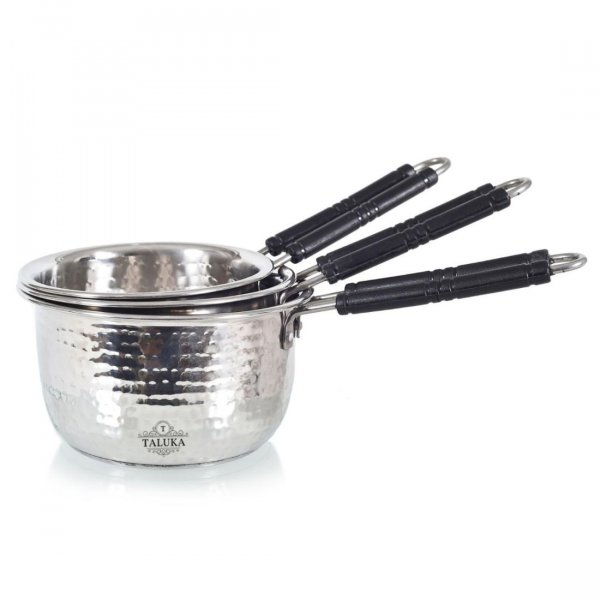 Premium Stainless Steel Hammered Inductions Friendly Sauce Pan Set of 3-1, 1.5, 2 Liter in Use for Hotel Home Restaurant