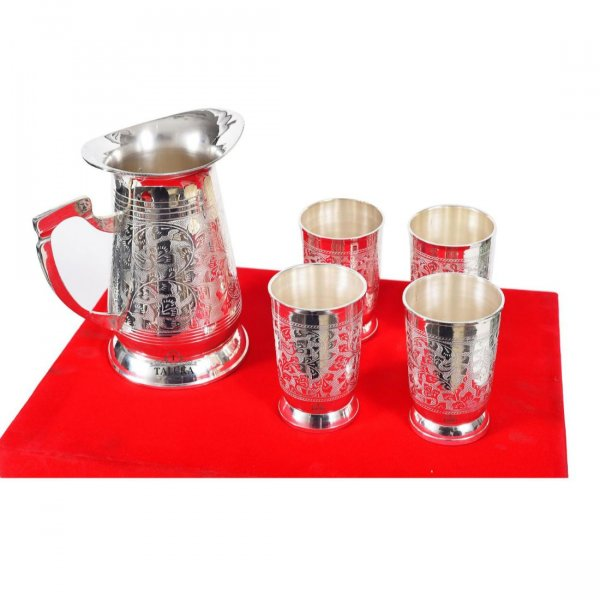 Brass Etching 1500 ML Pitcher Jug with 4 Pcs Glass Set 300 ML Water Storage with Gift Item with Red Box