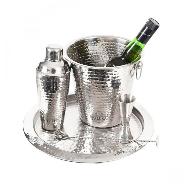 Stainless Steel Hammered 5 Pcs Bar Set | Cocktail Shaker 750 ml | Ice Bucket 1500 ML | Peg Measure 30-60 ML | Bar Spoon and Tray for Home Hotel Restaurant