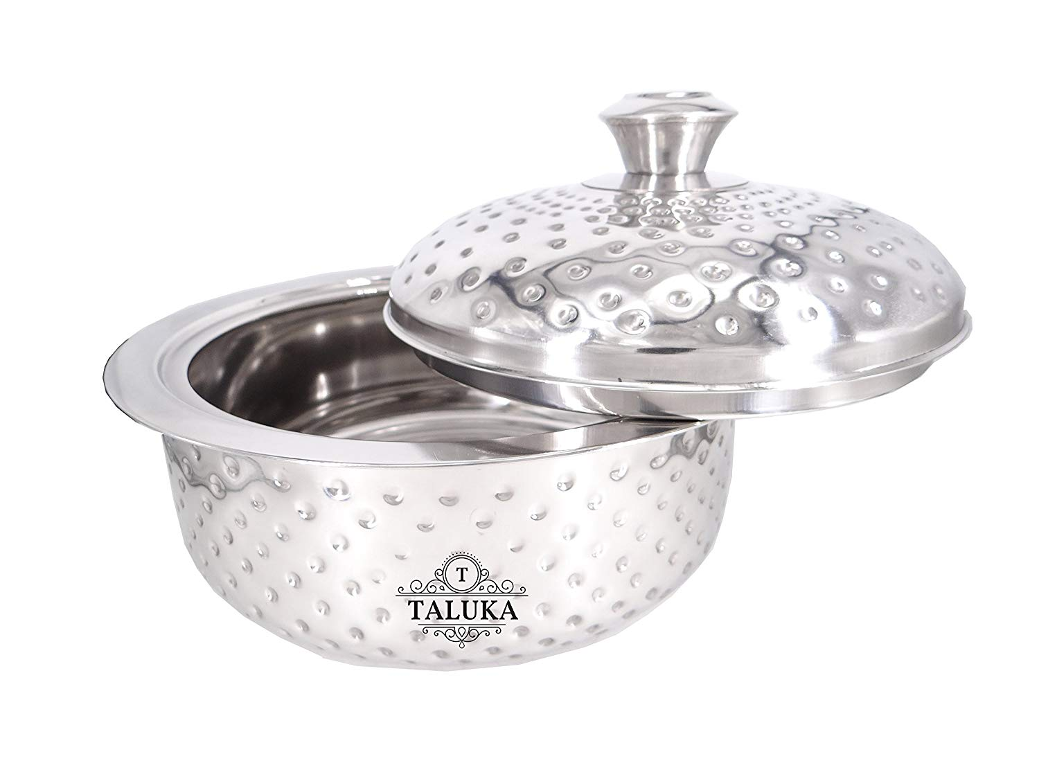 "Stainless Steel Insulated Chapati Casserole Box Double Wall Hammered Serving Casserole Tableware (8.2"" Inch) 2500 ML"