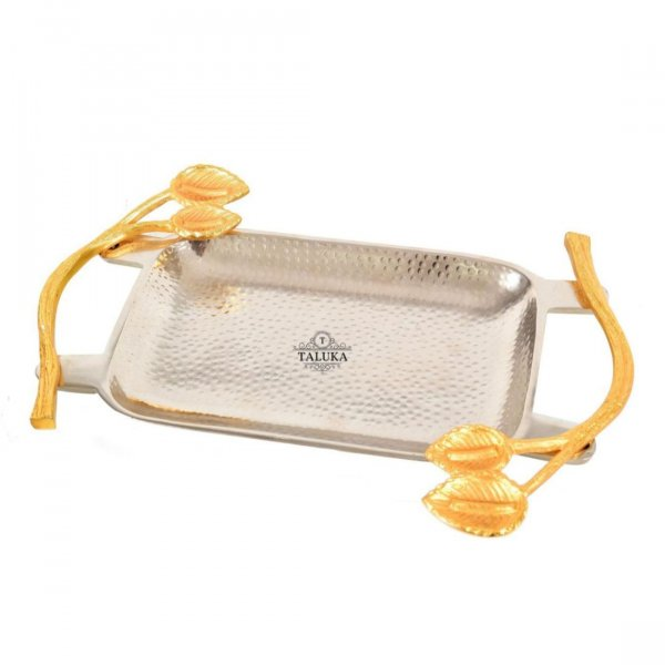 Premium Stainless Steel with Brass Handel Hammered Tray Tableware for Serving Use in Home Hotel Restaurant