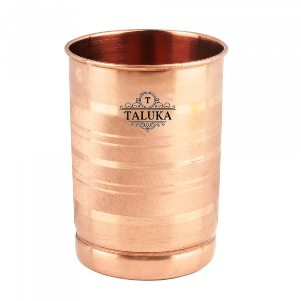 "Pure Copper Glass Tumbler, Set of 1, 300 ML for Storage and Drinking Purpose For Ayurveda Good Health Benefits ( 3"" x 4"" inches ) Hotel Restaurant Home Drink Ware Glass"