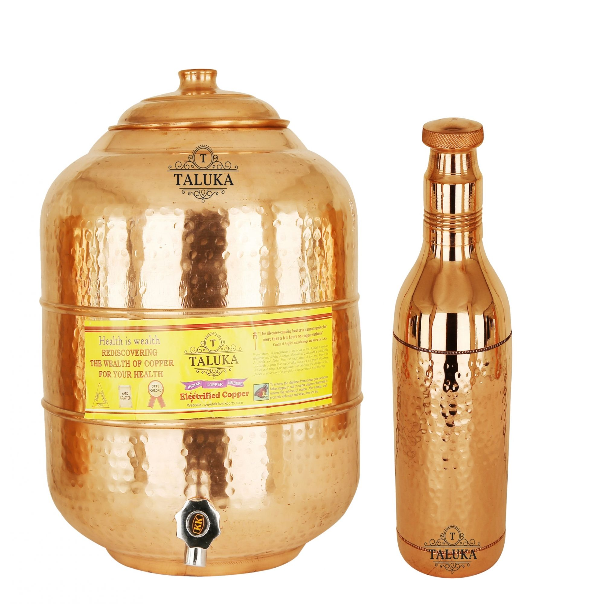 Taluka Handmade Copper Water Pot Tank 6 Liter 1 Hammer Water Bottle 1.7 Liter Storage