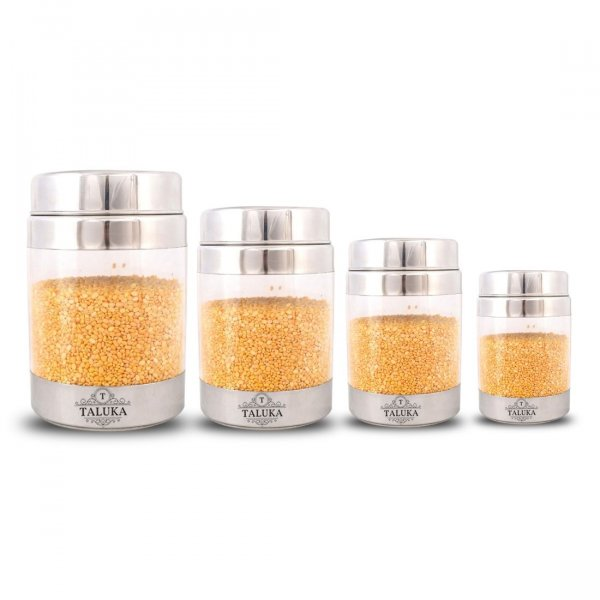 Round Stainless Steel Unbreakable Fiber Designer Jar Container Canister - 4 Pcs Set (600 ML + 1300 ML + 2200 ML + 3000 ML)