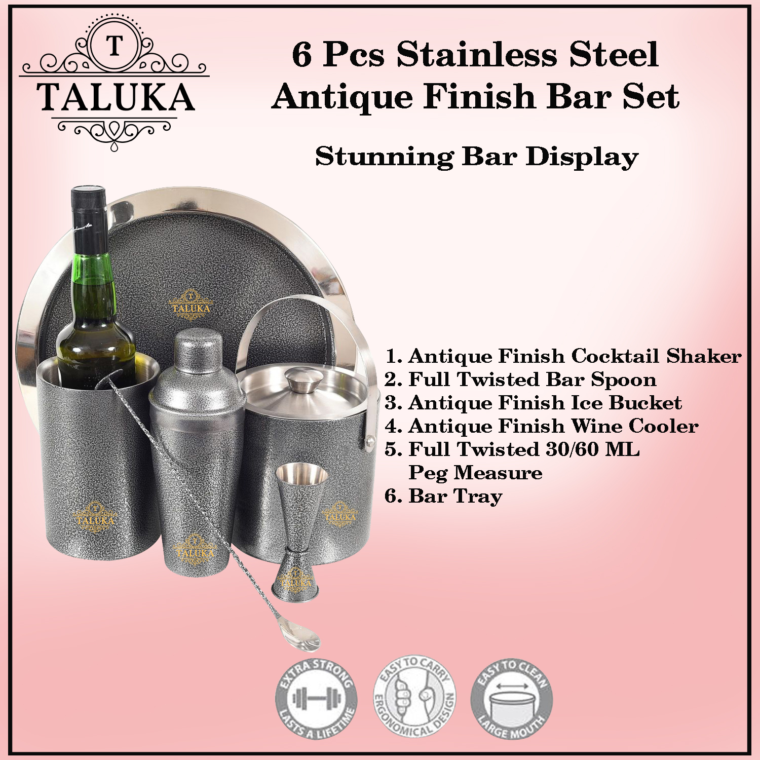 Stainless Steel Antique Black Coated 6 Pcs Bar set | Cocktail Shaker 750 ml | Ice Bucket Double Wall 1500 ML | Peg Measure | Wine Cooler | Bar Spoon | Serving Tray for Bar Home Hotel Restaurant