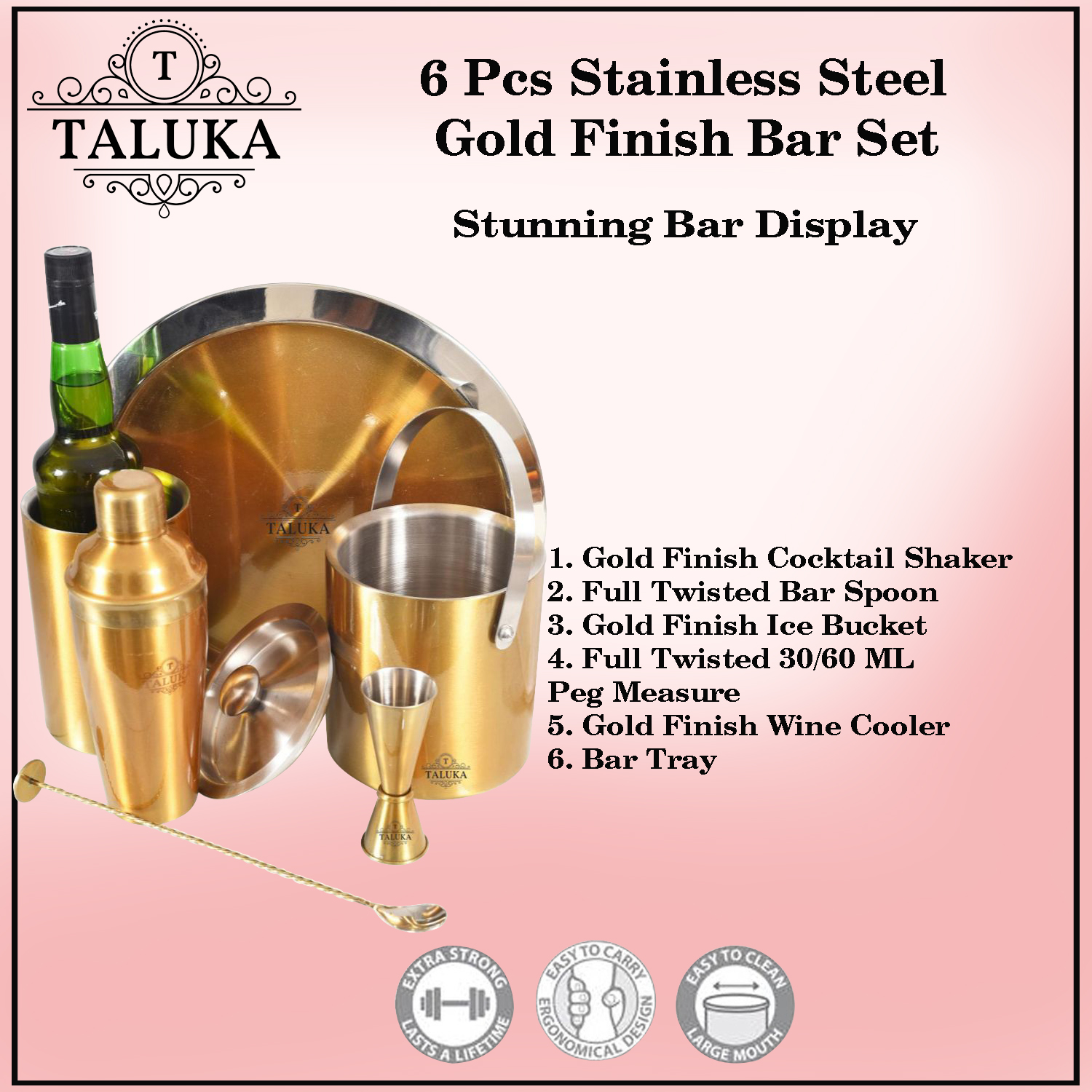 Stainless Steel Gold Plated 6 Pcs Bar Set | Cocktail Shaker 750 ml | Ice Bucket Double Wall 1500 ML | Peg Measure | Wine Cooler | Bar Spoon | Serving Tray for Bar Home Hotel Restaurant