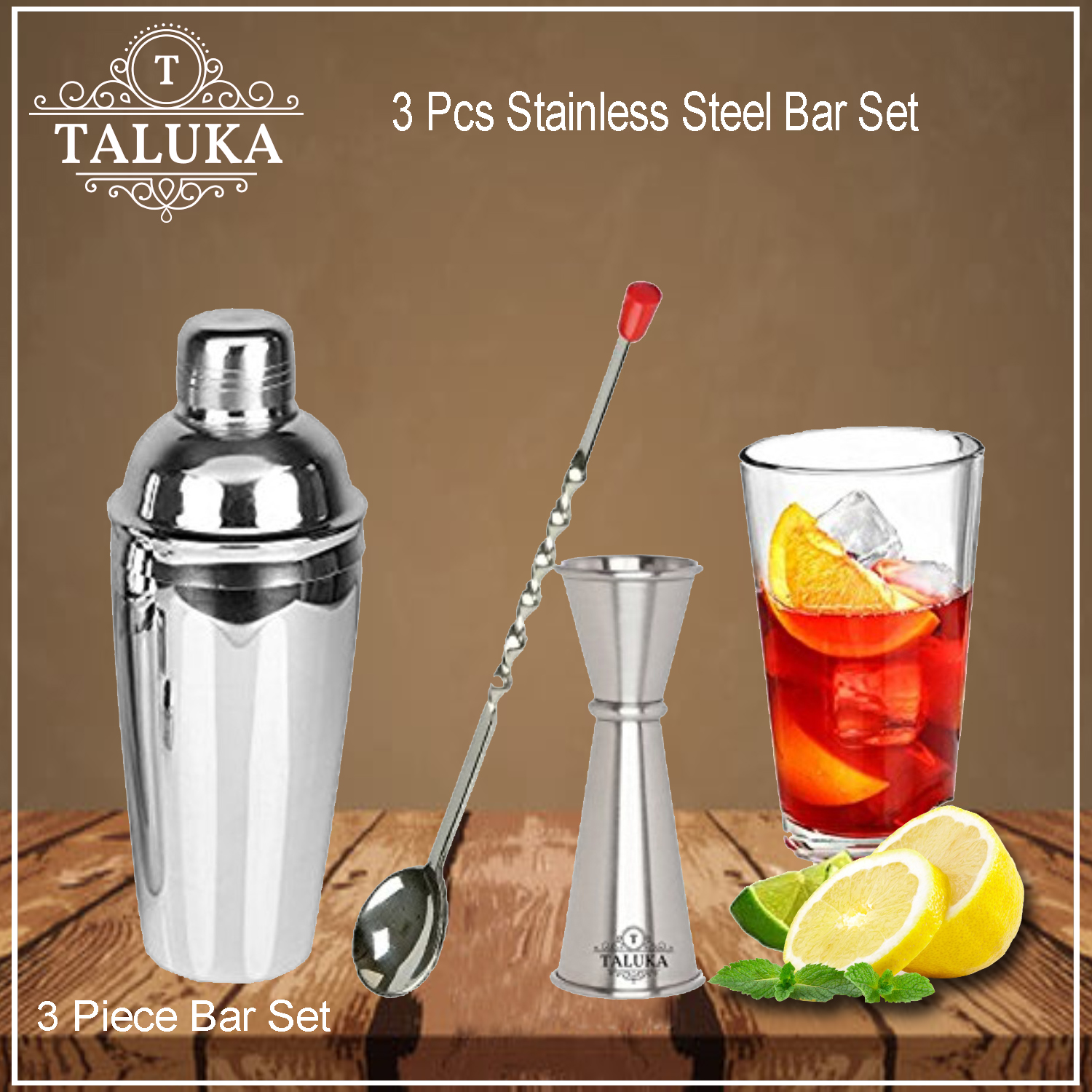Stainless Steel Wine and Cocktail Bar Set 3 Piece Combination Bar Tools Set